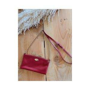 coach red crossover leather purse